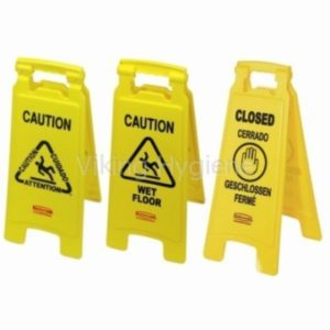 """26 In """"Caution Wet Floor"""" Sign, 2 Sided, Yellow"""
